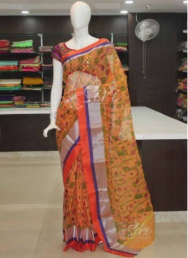 Pale Orange Fancy Kota Saree in Silver Zari