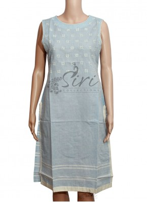 Pale Sky Blue Cotton Kurti