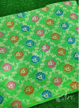 Parrot Green Banarasi Silk Fabric In Multi Meena Jaal Per Meter