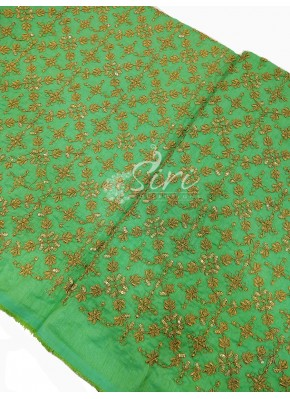 Parrot Green Raw Silk Fabric in Heavy Gold Embroidery Work Per Meter