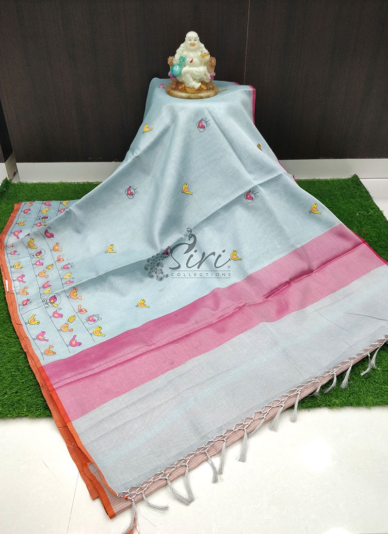 Party Wear Tissue Saree in Embroidery Work