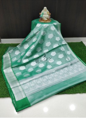 Party Wear Tissue Saree in Green and Silver