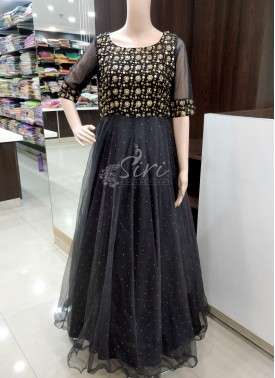 PartyWear Black Long Frock in Heavy Sequins and Stone Work