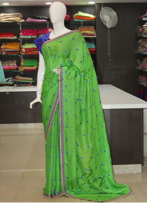 PartyWear Green Blue Jute Georgette Saree with Designer Work Borders