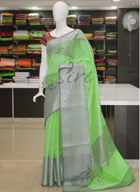 PartyWear Green Grey Banarasi Kora Saree in Silver Zari