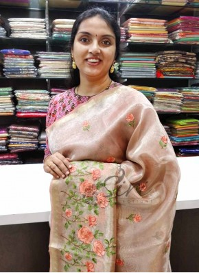 Partywear Peach Tissue Organza Saree in Embroidery Work