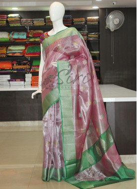 PartyWear Tissue Saree in Contrast Border Pallu