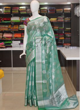 PartyWear Tissue Saree in Green