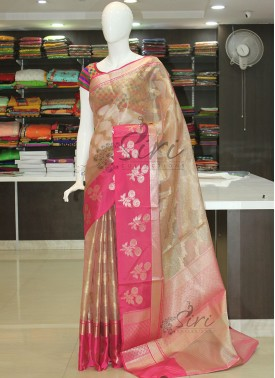 PartyWear Tissue Saree in Jaal and Self Thin Strip
