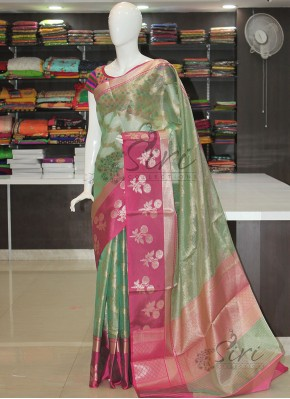 PartyWear Tissue Saree in Jaal and Self Thin Stripes