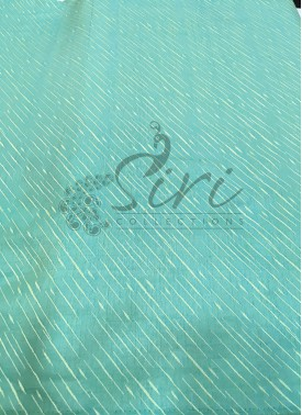 Pastel Blue Double Shade Soft Silk Fabric in Self Cross Lines Design Per Meter