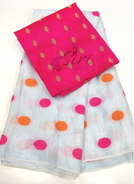 Pastel Blue Jute Silk Saree in Self Polka Dots