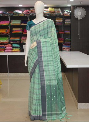 Pastel Bluish Green Grey Fancy Linen Saree in Mirror Work