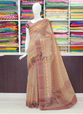 Pastel Brown Fancy Banarasi Saree in Self and Multi Colour Embroidery Work