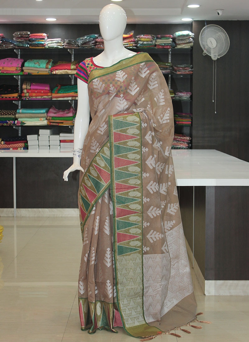 Pastel Colour Cotton Silk Saree in Ikat Design