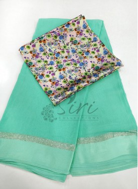Pastel Green Georgette Saree in Satin Borders With Digital Print Blouse Fabric