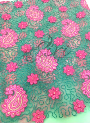 Pastel Green Net Fabric in Sea Green Pink Embroidery Work By Meter