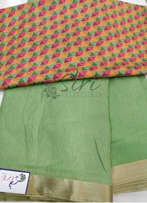 Pastel Green Soft Jute Saree with Designer Blouse Fabric