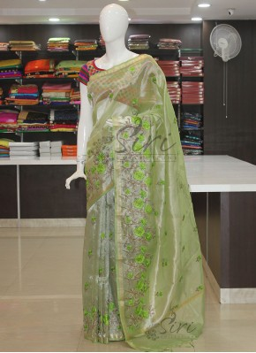 Pastel Green Tissue Saree in Embroidery Work