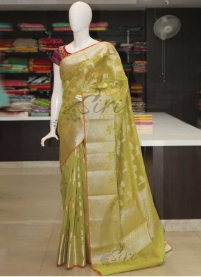 Pastel Mehendi Green Pure Cotton Silk Saree in Silver Gold Zari