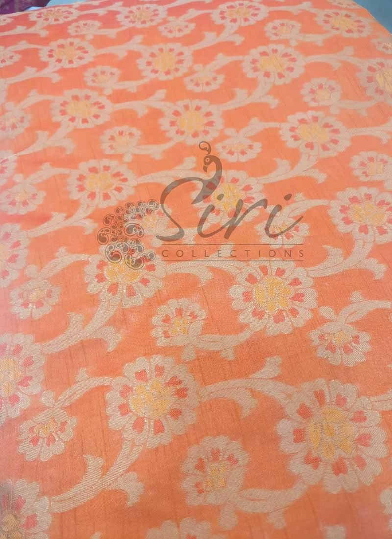 Pastel Orange Fancy Silk Fabric in Self Design Per Meter