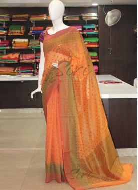 Pastel Orange Peach and Green Cotton Silk Saree