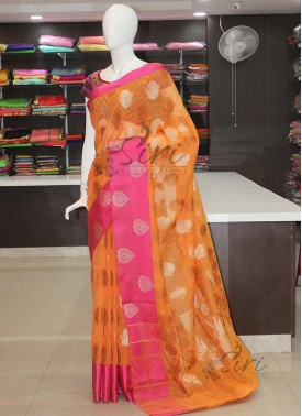 Pastel Orange Pink Banarasi Linen Jute Saree