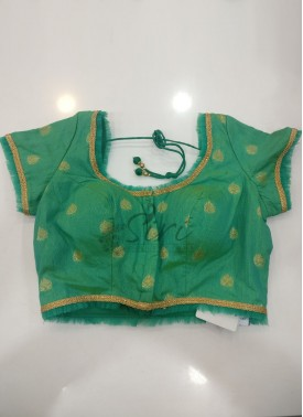 Pastel Rama Green Fancy Banarasi Silk Stitched Blouse in Frill Trim