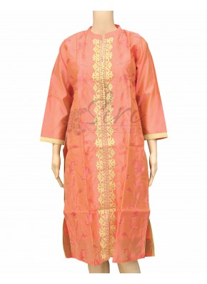 Pastel Rustic Orange Chanderi Silk Kurti with Embroidery Work