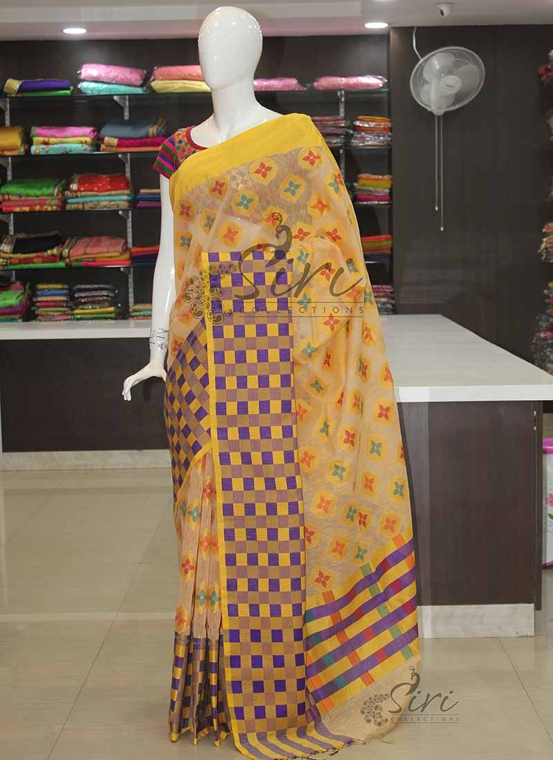 Pastel Shades Banarasi Linen Silk Saree in Multi Butis and Checks Border