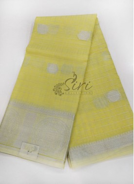 Pastel Yellow Kora Saree in Silver Zari