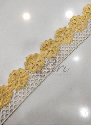 Pastel Yellow Offwhite Cut Work Border Lace
