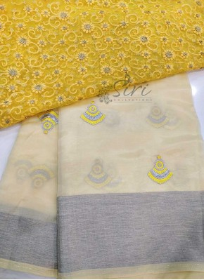 Pastel Yellow Soft Organza Saree with Designer Blouse