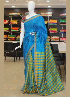 Patli Pallu Checks Pattu Silk Saree in Ananda Blue and Yellow