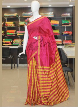 Patli Pallu Checks Pattu Silk Saree in Pinkish Red and Yellow