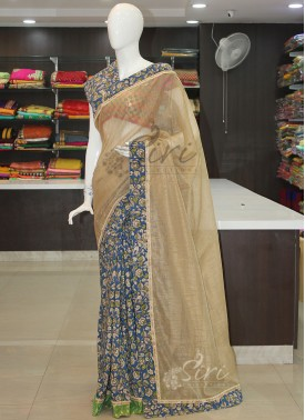 Patli Pallu Designer Saree in Soft Jute and Kalamkari