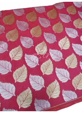 Peach Banarasi Silk Fabric in Big Leaf Design