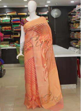 Peach Banarasi Soft Kora Saree