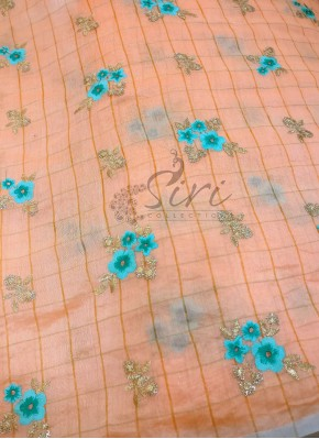 Peach Checkered Design Chanderi Fabric Per Meter