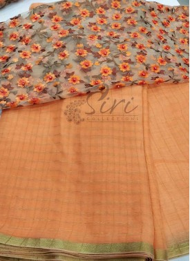 Peach Chiffon Saree in Self Zari Checks with Beautiful Designer Blouse