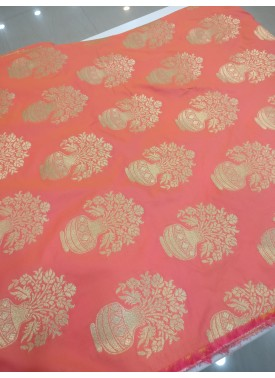 Peach Double Shaded Pot Design Fancy Banarasi Silk Fabric per Metre