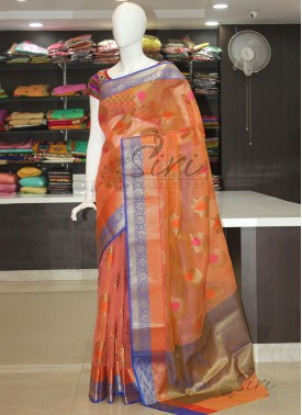 Peach Fancy Banarasi Munga Checks Saree In Multi Butis