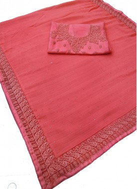 Peach Fancy Chiffon Saree in Designer Borders