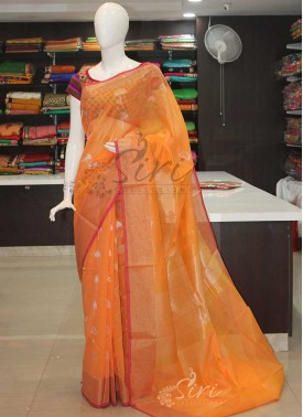 Peach Fancy Cotton Silk Saree in Silver Gold Zari Butis