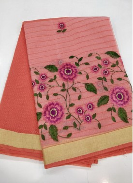 Peach Fancy Kota Saree in Embroidery Work