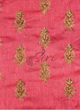 Peach Fine Raw Silk Fabric in Sequins and Embroidery Work by Meter