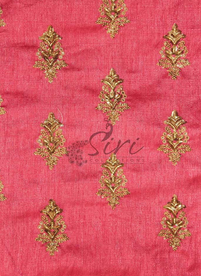 f753ca01cf0 Peach Fine Raw Silk Fabric in Sequins and Embroidery Work by Meter