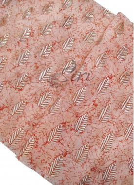 Peach Cotton Slub Fabric in Foil Print Per Meter