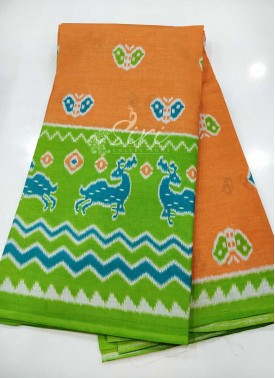 Peach Green Printed Cotton Saree