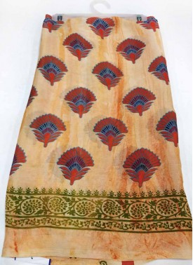 Peach Green Printed Crepe saree